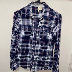 Tops - Navy Blue, Red & White Flannel